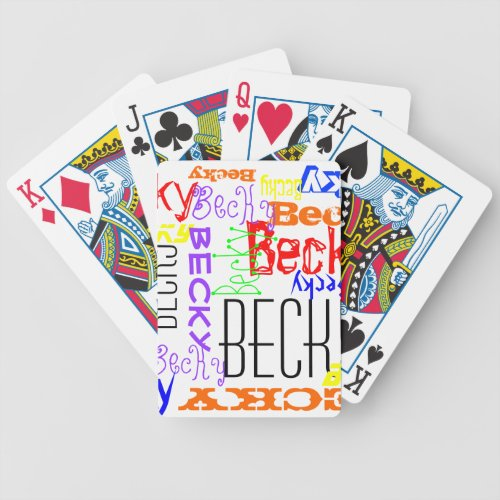 Personalized Custom Name Collage Colorful Bicycle Playing Cards