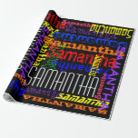 Personalized Custom Name Collage Colorful Birthday Gift Wrapping Paper
