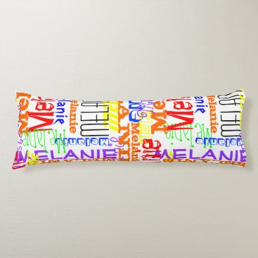 Personalized Custom Name Collage Colorful Body Pillow