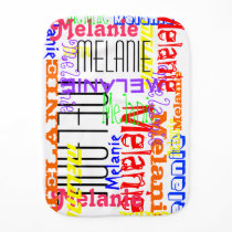 Personalized Custom Name Collage Colorful Burp Cloth