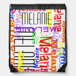 Personalized Custom Name Collage Colorful Drawstring Bag