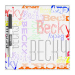 Personalized Custom Name Collage Colorful Dry Erase Board