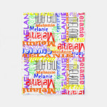 Personalized Custom Name Collage Colorful Fleece Blanket