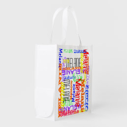 Personalized Custom Name Collage Colorful Grocery Bag