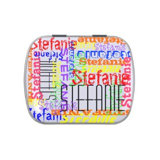 Personalized Custom Name Collage Colorful Jelly Belly Candy Tin