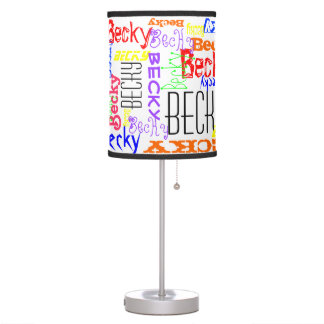 Personalized Custom Name Collage Colorful Table Lamp