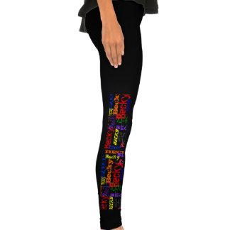 Personalized Custom Name Collage Colorful Leggings