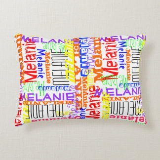 Personalized Custom Name Collage Colorful Accent Pillow