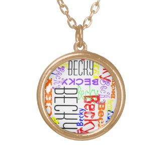 Personalized Custom Name Collage Colorful Round Pendant Necklace