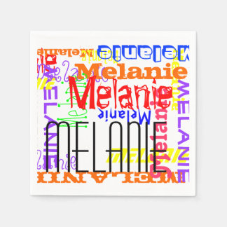 Personalized Custom Name Collage Colorful Paper Napkins