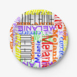 Personalized Custom Name Collage Colorful Paper Plate