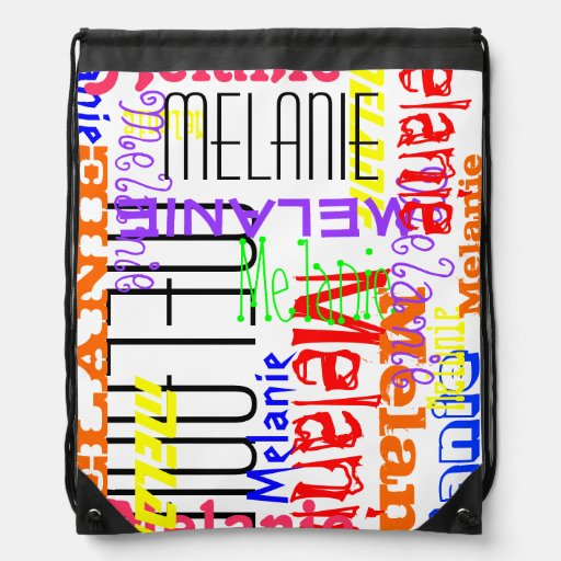 Personalized Custom Name Collage Colorful Cinch Bag