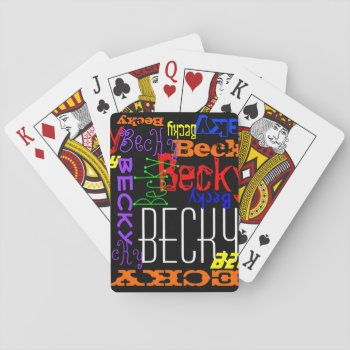 Personalized Custom Name Collage Colorful Playing Cards by cutencomfy at Zazzle
