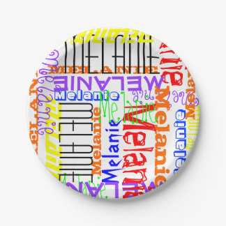 Personalized Custom Name Collage Colorful 7 Inch Paper Plate