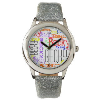 Personalized Custom Name Collage Colorful Wrist Watch