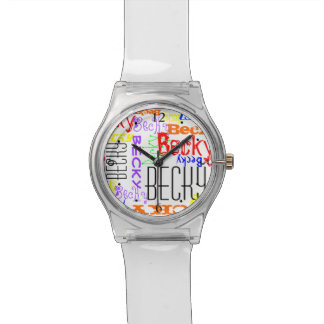 Personalized Custom Name Collage Colorful Wrist Watches