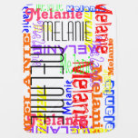 Personalized Custom Name Collage Colorful Stroller Blanket