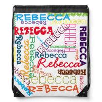Personalized Custom Name Collage Drawstring Bag