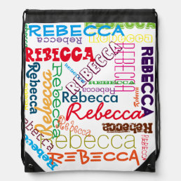 Personalized Custom Name Collage Drawstring Bag