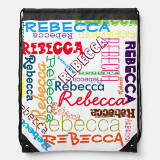 Personalized Custom Name Collage Drawstring Backpack