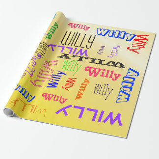 Personalized Custom Name Collage Yellow Create Wrapping Paper