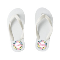 Personalized Custom Name Floral Wreath Flip Flops