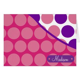Personalized Custom Name Pink Purple Polka Dots Card
