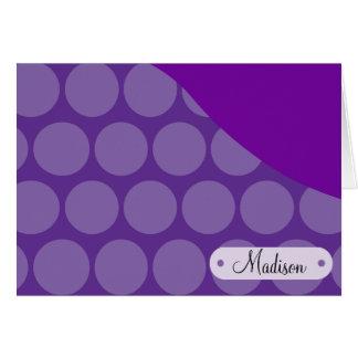 Personalized Custom Name Purple Polka Dots Wave Card