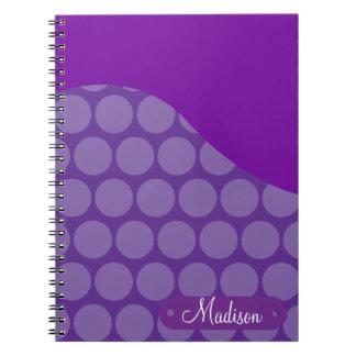 Personalized Custom Name Purple Polka Dots Wave Note Books