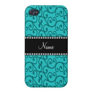 Personalized custom name turquoise swirls iPhone 4/4S case