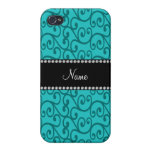 Personalized custom name turquoise swirls iPhone 4/4S case