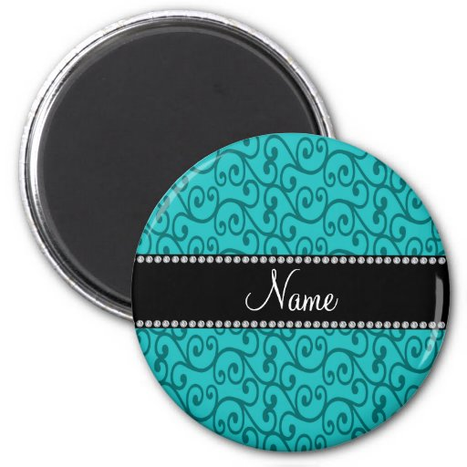 Personalized custom name turquoise swirls refrigerator magnets