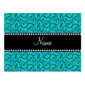 Personalized custom name turquoise swirls postcard
