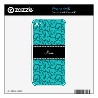 Personalized custom name turquoise swirls skin for iPhone 4