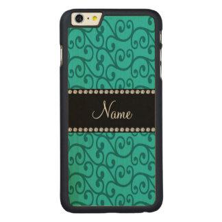 Personalized custom name turquoise swirls carved® maple iPhone 6 plus slim case