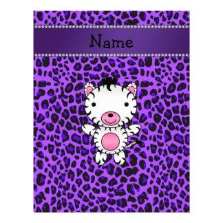 Personalized custom name zebra purple leopard personalized letterhead