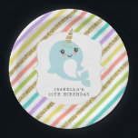 """Personalized Custom Narwhal Rainbow Glitter Paper Plate<br><div class=""""desc"""">Rainbow colors with gold glitter and a narwhal . . . look no further.  :)</div>"""