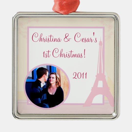 Personalized Custom Ornament Lovers in Paris