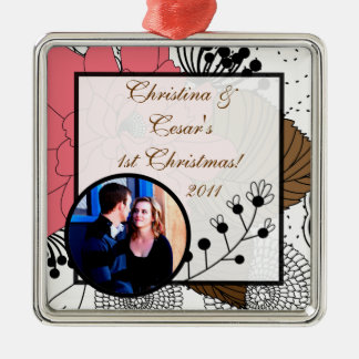 Personalized Custom Ornament Pink Flowers Brown Le