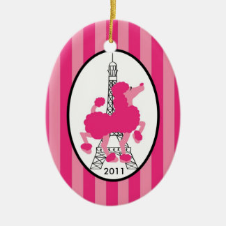 Personalized Custom Ornament Pink Poodle Paris