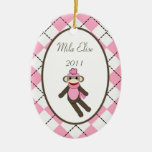 Personalized Custom Ornament Pink Sock Monkey
