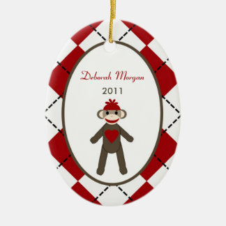 Personalized Custom Ornament Red Sock Monkey
