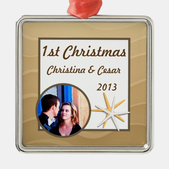 Personalized Custom Ornament Seashells on Sandy Be