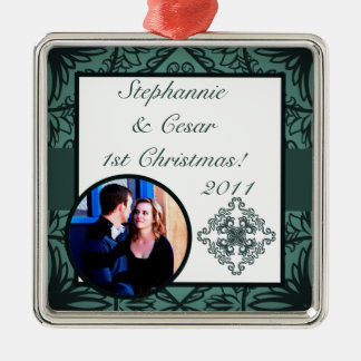 Personalized Custom Ornament Teal Ornate Damask