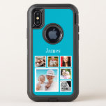 "Personalized Custom Photo Collage Make Your Own OtterBox Defender iPhone X Case<br><div class=""desc"">blue photo collage (or change background color by selecting &quot;customize&quot; )  - Personalize With photographs and Text  .. customize the text and photo template to suit your requirements .. add your initials / monogram / text .. cases from Ricaso</div>"