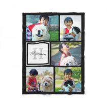 Personalized Custom Photo Collage Monogrammed Gift Fleece Blanket