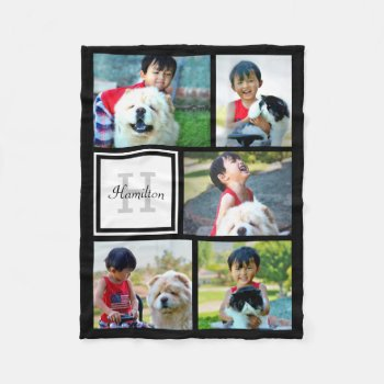 Personalized Custom Photo Collage Monogrammed Gift Fleece Blanket by cutencomfy at Zazzle