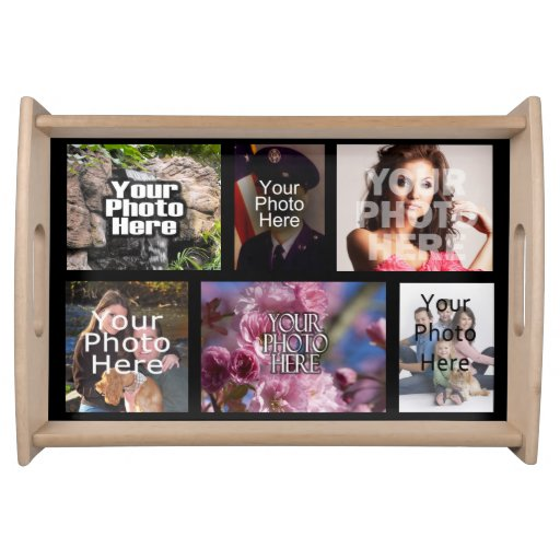 Personalized Custom Photo Collage Montage Food Tray