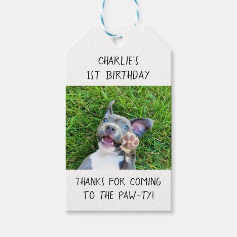 Personalized Custom Photo Puppy Dog Birthday Party Gift Tags
