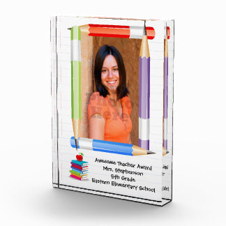 Personalized Custom Photo Teacher School Plaque Acrylic Award